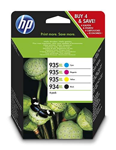 HP 934XL-935XL X4E14AE, Negro, Cian, Magenta y Amarillo, Cartuchos de Tinta de Alta Capacidad Originales, Pack de 4, compatible con la impresora de inyección de tinta HP OfficeJet 6820
