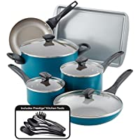 15-Piece Farberware Dishwasher Safe Nonstick Cookware Pots and Pans Set (Teal)