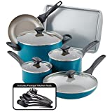 Farberware Dishwasher Safe Nonstick Cookware Pots and Pans Set, 15 Piece, Teal