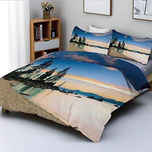 Juego de funda nórdica, foto de Paradise Beach con árboles en el río después del amanecer Paisaje de paz romántica Juego de cama decorativo de 3 piezas con 2 fundas de almohada, crema azul, el mejor r