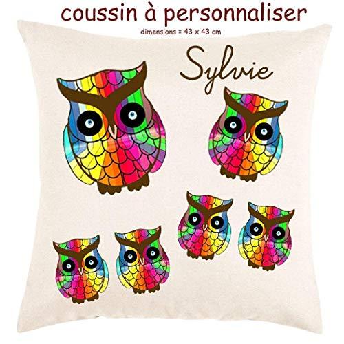Coussin avec sa Housse Toucher très Doux Chouette Multicolor Personnalisable avec un Prénom Exemple Sylvie