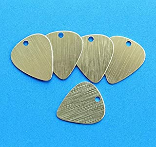 10 Guitar Pick Stamping Tags Anodized Aluminum Brushed Gold Jewelry Making Supply Pendant Bracelet DIY Crafting by Wholesale Charms
