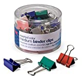 color binder clips - Officemate Medium Binder Clips, Assorted Colors, 24 Clips per Tub (31029)