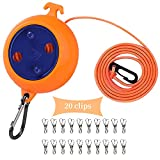 CenYouful Portable Travel Clothesline Cord, Adjustable 26ft Camping Clothes line, Laundry Drying Rope for Hotel Trip,Camping,Backyard,Outdoor/Indoor,with 20Pcs Windproof Clothespins