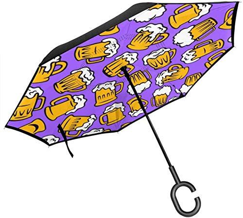 Modello di birra rovesciato all'indietro - autoportante protezione da pioggia capovolta ombrelli per auto con impugnatura a C