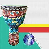 アフリカのドラム チューニングフリー、ボンゴドラム、子供用ドラム、PVC超軽量マテリアルTambourine、子供用ハンドドラム、幼稚園、環境に優しい素材、無臭、チューニングフリー、軽量、良好なトーン、身長49cm、幅25.5cm(複数)オプション) 手描きのドラム (Color : B, Size : Height 49CM*Width 25.5CM)
