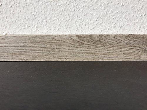 Sockelleisten mit Nut in grey Pinie | Fußleisten mit MDF-Kern | Fußbodenleisten in den Maßen 2,4m x 5,8cm | Wandabschlussleiste mit rückseitiger Clipfräsung & geradem Abschluss | MADE IN GERMANY