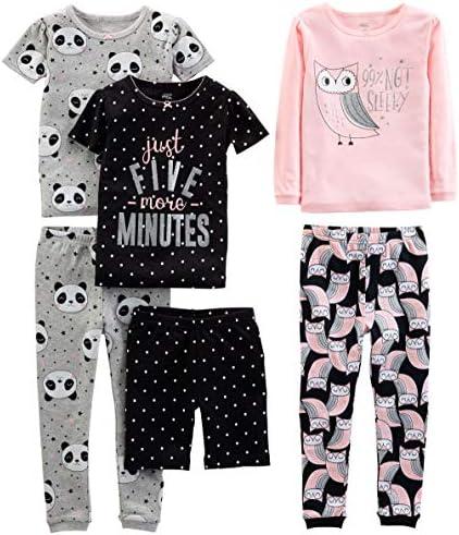 Simple Joys by Carter s Girls Little Kid 6 Piece Snug Fit Cotton Pajama Set Owl Panda Dot 7 product image