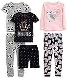 Simple Joys by Carter's Girls' Little Kid 6-Piece Snug Fit Cotton Pajama Set, Owl/Panda/Dot, 8