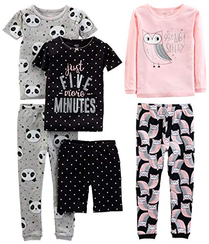 Simple Joys by Carter's Girls' Toddler 6-Piece Snug Fit Cotton Pajama Set, Owl/Panda/Dot, 3T