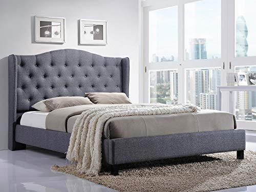 Annabelle Upholstered Bed with Gray Fabric 180 x 200 cm / Padded Headboard / Bed with Wooden Mattress Support / Easy Assembly