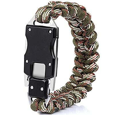 HNYYZL Paracord Knife Bracelet, 1 Pack Survival Cord Bracelets Upgrade Tactical EDC Bracelet Everyday Carry Gear- Strong 7 Cote Rope & Durable Sharp, for Outdoor Camping Hiking (Camouflage Brown)