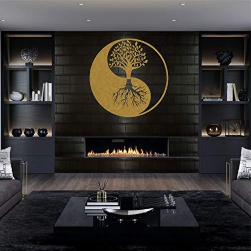 Metalen wandkunst, levensboom wandkunst, metalen Yin Yang Decor, interieurdecoratie, metalen wanddecoratie…
