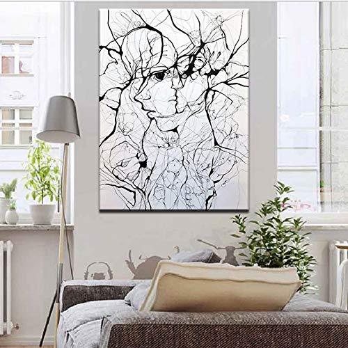 YuanMinglu Abstrakte Porträt Leinwand Malerei Poster Hand gezeichnete Strichzeichnung Wandkunst Bild Wohnzimmer Hauptdekoration Rahmenlose Malerei70x100cm
