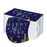 IsMoon 10/50 Stück Happy New Year Briefdruck Mundschutz Einweg Erwachsene Atmungsaktive Mundbedeckung mit Motiv Mund-Nasenschutz für Herren Damen