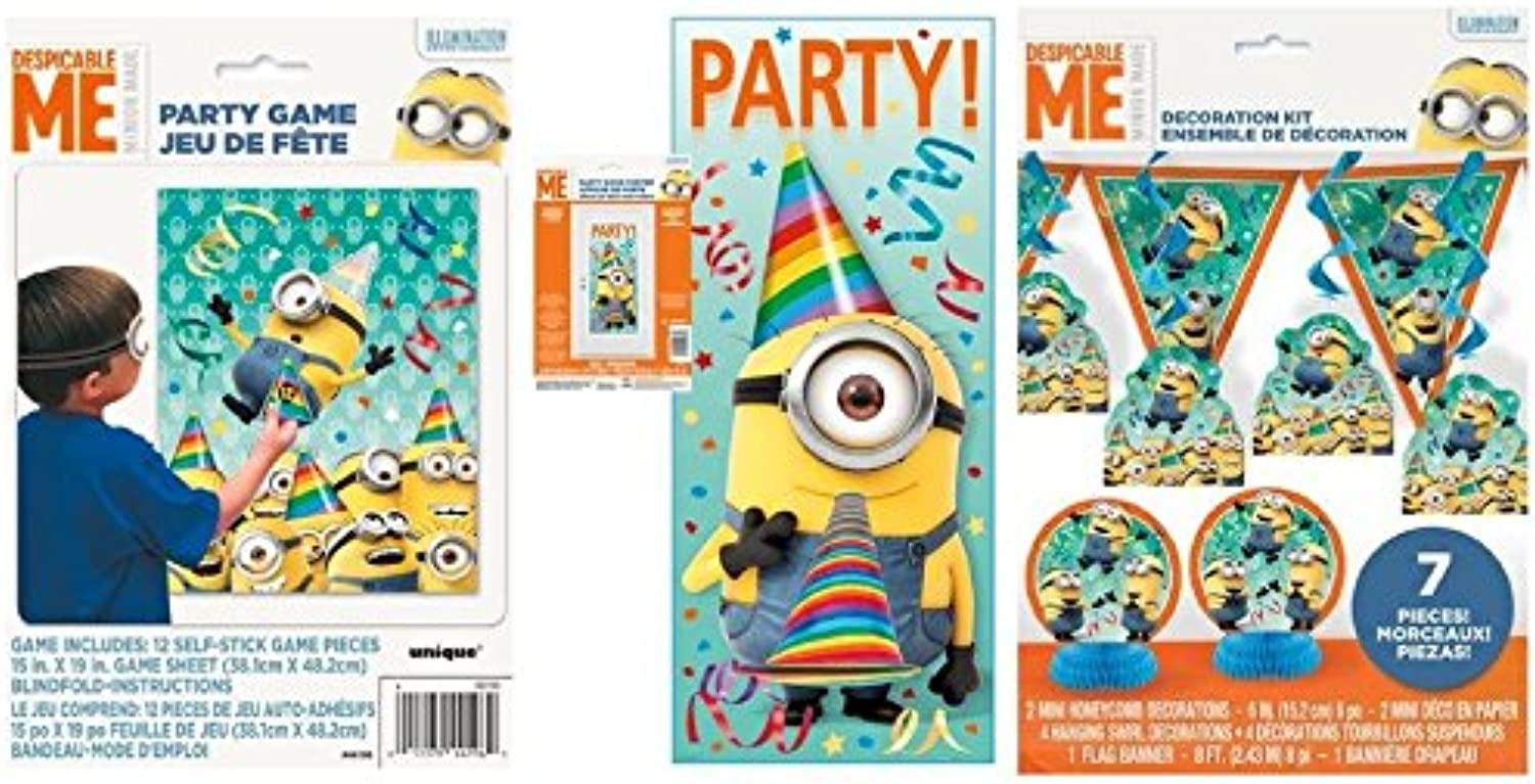 Despicable Me Party Kit - Includes 7 pc Decoration Kit, Door Poster, and Party Game