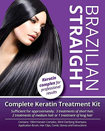 Brazilian Straight, Keratin Purple Treatment Kit, Quality Hair Straightening/Blow Dry/Smoothing,...