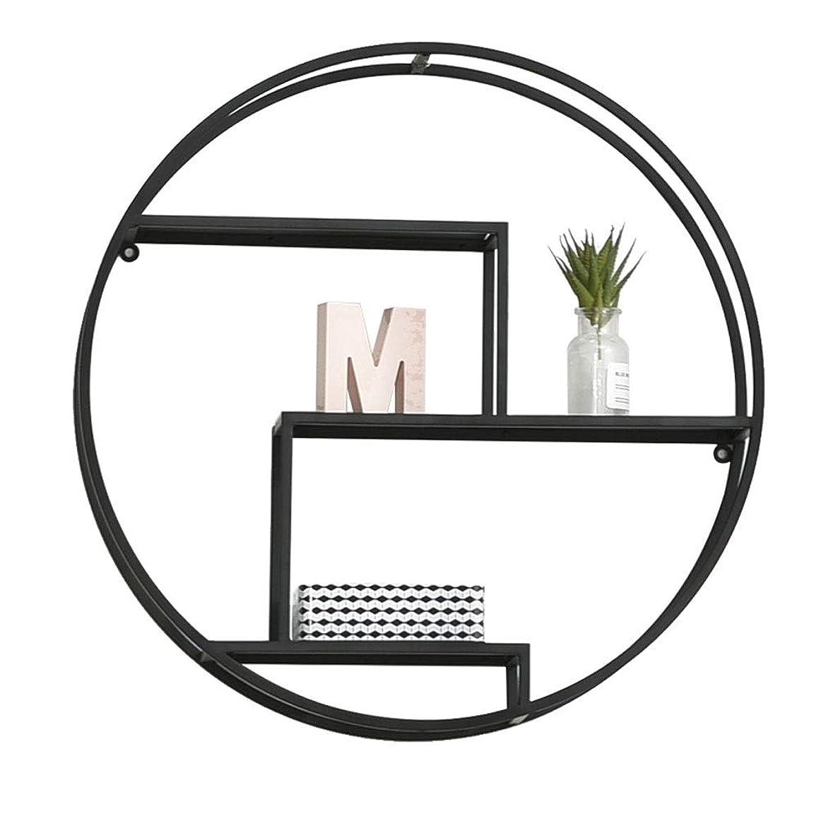 到着豊富にブレース金属壁掛けラックリビングルームテレビ壁の装飾フローティングフレーム寝室クリエイティブグリッド収納ラック -3.23 (Color : Black)