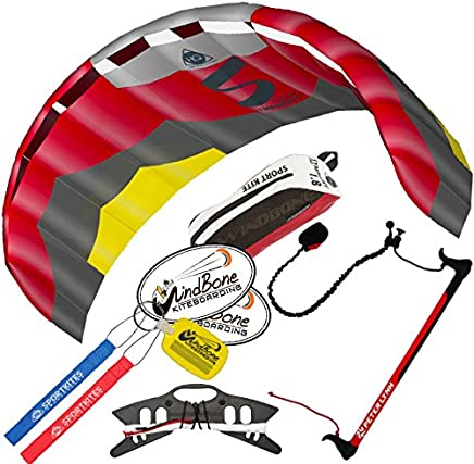HQ Symphony Pro 1.8 Kite Edge Red Yellow w Control Bar Bundle (4 Items)