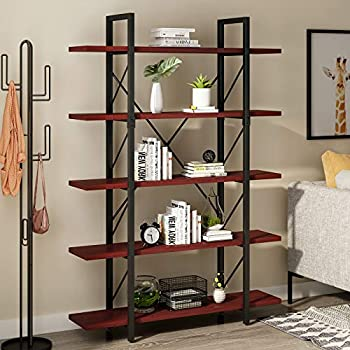 YITAHOME 5 Tiers Bookshelf Open Freestanding 5 Shelf Bookcase 5-Tier Storage Shelf for Display and Collection Modern Decorative Furniture for Living Room Home Office Cherry Bookshelf