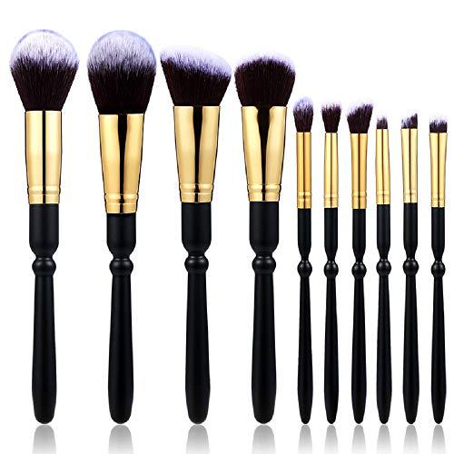Outil De Beauté 10 Manche En Bois Fibre Poudre Brosse Pinceau Fard À Paupières Pinceau De Maquillage Ensemble