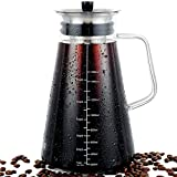 Cold Brew Coffee Maker 51oz (1.5L) with Hand-Blown Glass Pitcher, Stainless Steel Filter Removable, for Iced Coffee & Cold Brew Tea. Airtight Lid / Dishwasher Safe