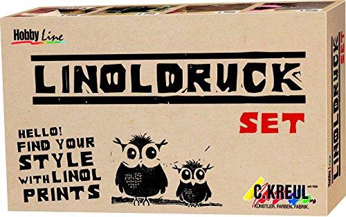 Kreul 15101 - Linoldruckfarben Set, 20 ml Linoldruckfarbe schwarz, 3 Schneidefedern, Griff für Schneidefedern, Linolplatte DIN A6, Glasplatte und Gummiwalze