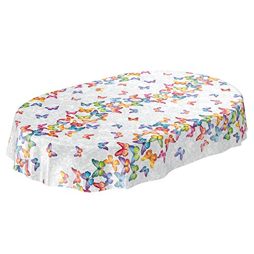 ANRO Wachstuch Tischdecke abwaschbar Wachstuchtischdecke Wachstischdecke Schmetterlinge Silber Bunt Oval 180x140cm