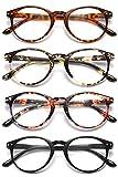 VEVESMUNDO® Lesebrillen Damen Herren Federscharnier Lesehilfe Augenoptik Vintage Retro Qualität Vollrandbrille 1.0 1.25 1.5 1.75 2.0 2.25 2.5 3.0 3.5 (4 Stück (Schwarz+Leopard+Rosa+Gelb), 2.5)