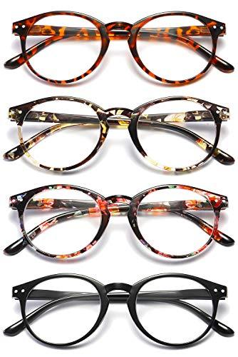 VEVESMUNDO® Lesebrillen Damen Herren Federscharnier Lesehilfe Augenoptik Vintage Retro Qualität Vollrandbrille 1.0 1.25 1.5 1.75 2.0 2.25 2.5 3.0 3.5 (4 Stück (Schwarz+Leopard+Rosa+Gelb), 3.0)