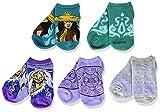 Disney Girls' Raya and The Last Dragon 5 Pack No Show, Blue Aqua Multi, Fits Sock Size 6-8.5 Fits Shoe Size 7.5-3.5