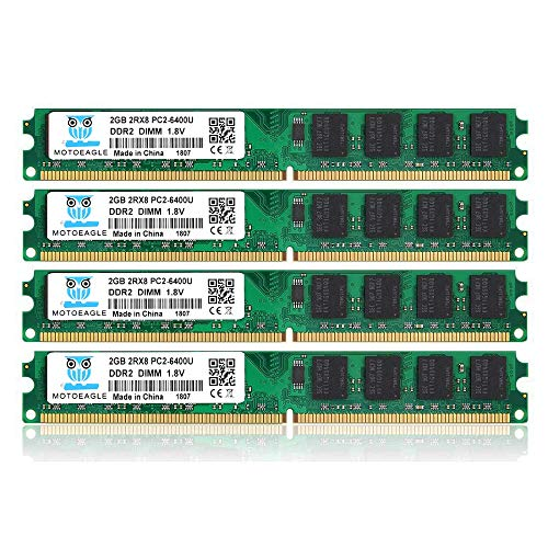 8GB Kit (2GBX4) DDR2 800 Udimm RAM, Motoeagle PC2 6400 6400U 1.8V CL6 240 Pin Non-ECC Unbuffered Desktop Memory Modules