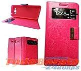 Todobarato24h Funda Libro Ventana Compatible con Samsung Galaxy Grand Prime G530 Rosa
