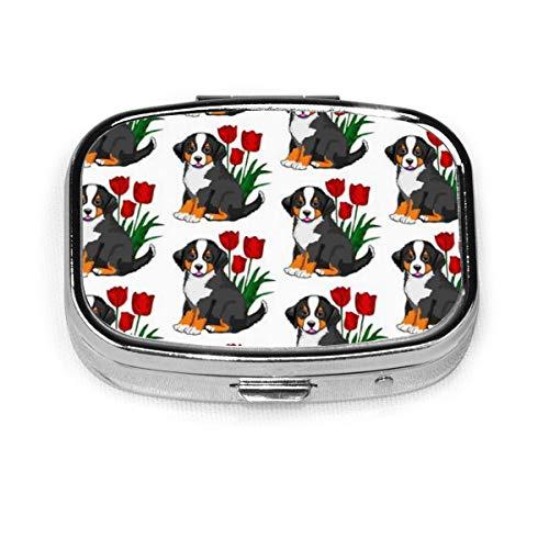 Pill Box - Kundenspezifische Berner Sennenhund Pillendosen, tragbare rechteckige Metall Silber Pillenetui, Compact 2 Space, Pillenetuis für Reisen/Tasche/Geldbörse