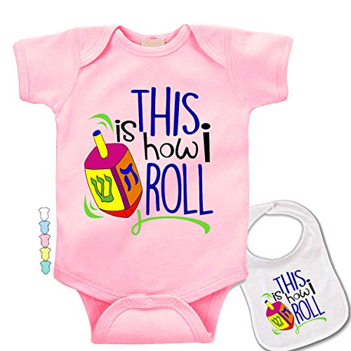 Hanukkah This is How I Roll -Cute Chanukah Jewish Baby Bodysuit Onesie & bib Pink