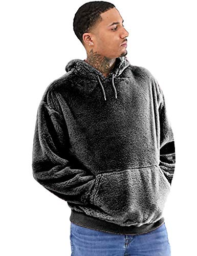 Mens Solid Color Hooded Faux Fur Double Fuzzy Sweatshirt Fleece Pullover Hoodies Grey L