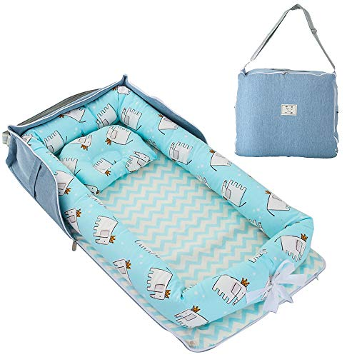 TEALP Tumbona para bebé con Almohadas, Nido Transpirable para Bebé Recién Nacido para Cosleeping, Capazo de Bebé, elefante azul