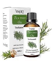 VSADEY Aceite Esencial de Árbol de Té 50ml, Orgánico 100% Puro y Natural Aceite de Arbol de Té Aceites Esenciales Tea Tree Essential Oil Para Masaje, la Cara y Cuerpo Tratamiento Acné Para Piojos