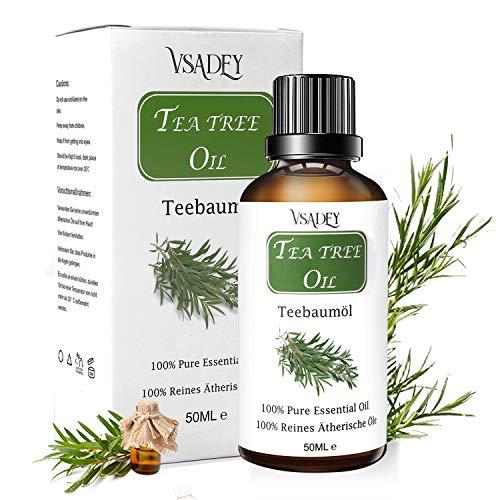 VSADEY Aceite Esencial de Árbol de Te 50ml, Organico 100% Puro y Natural Aceite de Arbol de Te Aceites Esenciales Tea Tree Essential Oil Para Masaje, la Cara y Cuerpo Tratamiento Acne Para Piojos