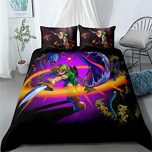 LIJUNQI Juego de cama de tres piezas con estampado de Anime Legend of Zelda, 100% poliéster (6,220 x 240 cm + 2 x 50 x 75 cm).