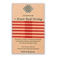Shonyin 7ノットレッドストリングブレスレット カバラ保護糸 ハンドメイドストリングブレスレット 幸運のギフト レディース メンズ ガールズ ボーイズ ファミリーに レッド