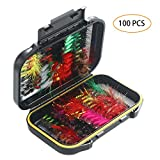 Focuser Flies for Fly Fishing, 100 pcs, Dry\/Wet Fly Fishing Lures, Fly Fishing Gear for Bass, Trout, Salmon with Storage Organizer Box, Fly Boxes, Lure Boxes, Planet Box, Gifts, Accessories, Assorted