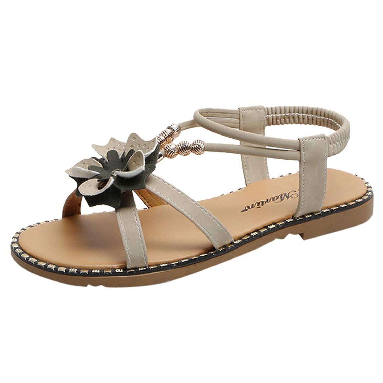 Londony?? Women's Sweet Summer Bohemia Beaded Sandals Clip Toe Flat Sandals T-Strap Flip Flop Rhinestone Walking Shoes