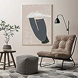 Retrato de mujer gris, collage de mujer abstracta, decoración de sala de estar moderna, cartel contemporáneo, mural minimalista pintura de decoración sin marco familiar A98 60x80cm