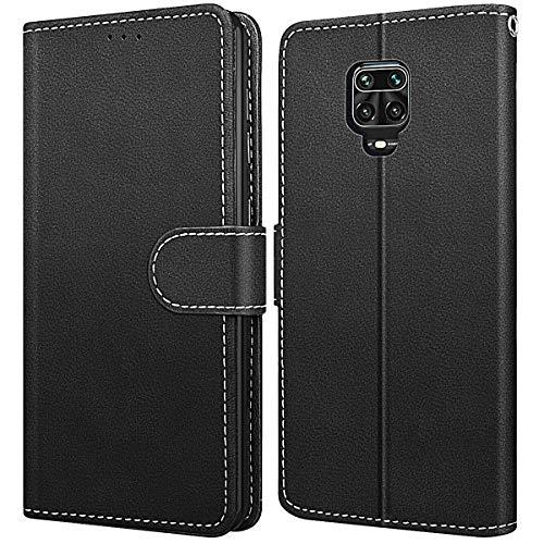 WE LOVE - Custodia per Xiaomi Redmi Note 9s/9 Pro/9 Pro Max in pelle a portafoglio con scomparti per carte, funzione di supporto, chiusura magnetica a flip cover – nero
