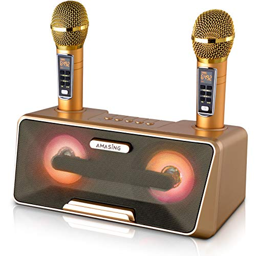 Portable Karaoke Machine for Kids & Adults - Best Birthday or Holiday Gift w/Bluetooth Speakers, 2 Wireless Microphones, LED Lights, Tablet Holder, PA System & Karaoke Song Mode! (Presto, G2 Gold)