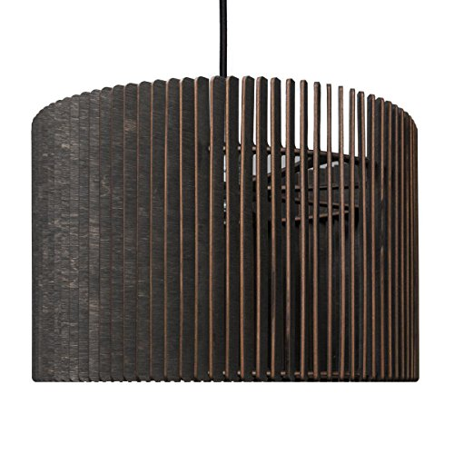Barril Lampe à suspension – Suspension en bois – Suspension au design moderne – plusieurs couleurs disponibles, noir, ø 50 cm, Höhe 20 cm