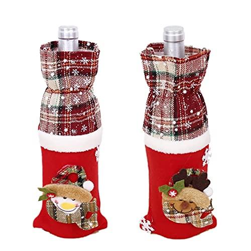 JUSTDOLIFE Cubierta De La Botella De Navidad Dibujos Animados 2 Unids Suave Lindo Lindo Reutilizable Festivo Festivo Botella Bolsa De Fiesta Santa Snowman Alk Decorativo