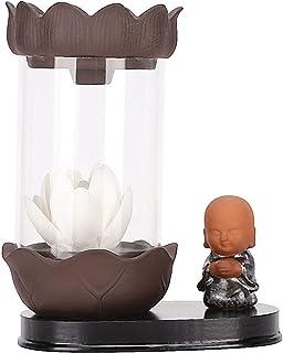 Weiyiroty Reflujo Incienso Quemador Pequeño Monje Zen Incienso Palo Poseedor con Luz LED en Forma de Flor Blanca y Parabri...