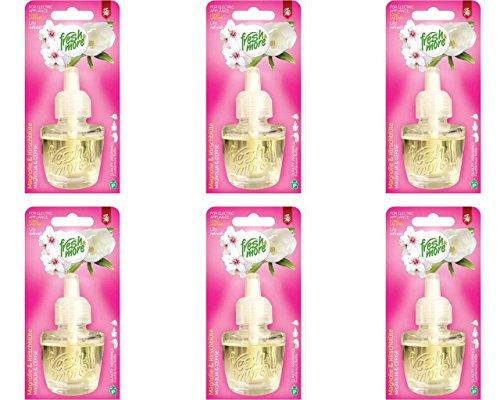 6x Fresh&More Nachfüllflakons Magnolie&Kirschblüte Für E-Duftstecker, 19ml